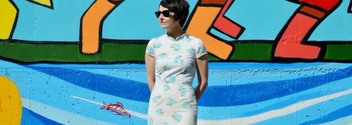 Sheath Dress with MandarinCollar