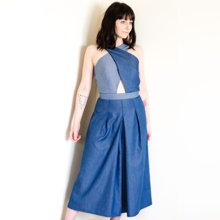 Tencel Denim Culotte Jumpsuit