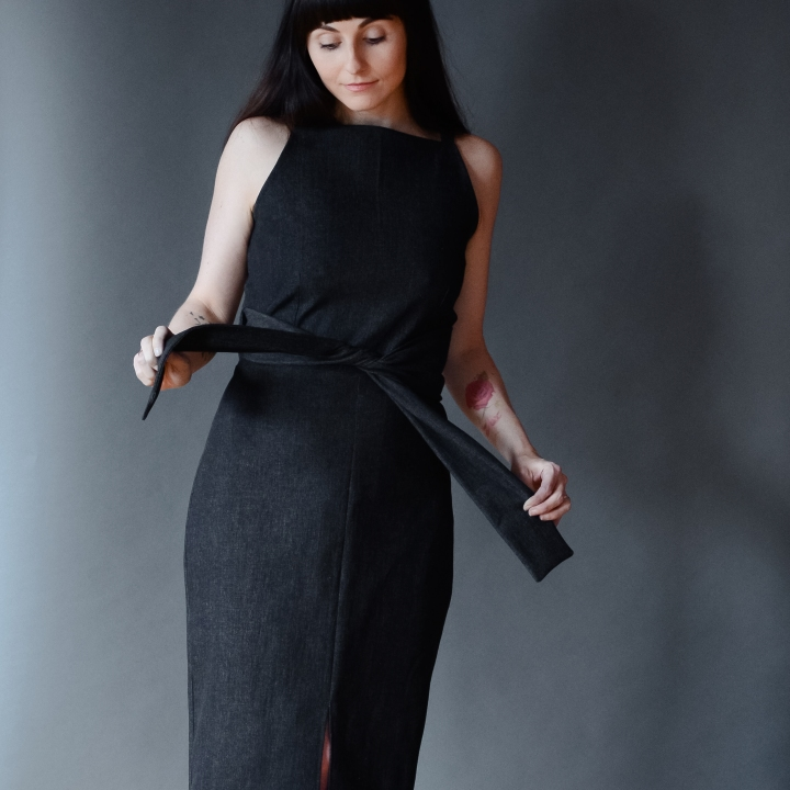 Axis Dress in Black Denim