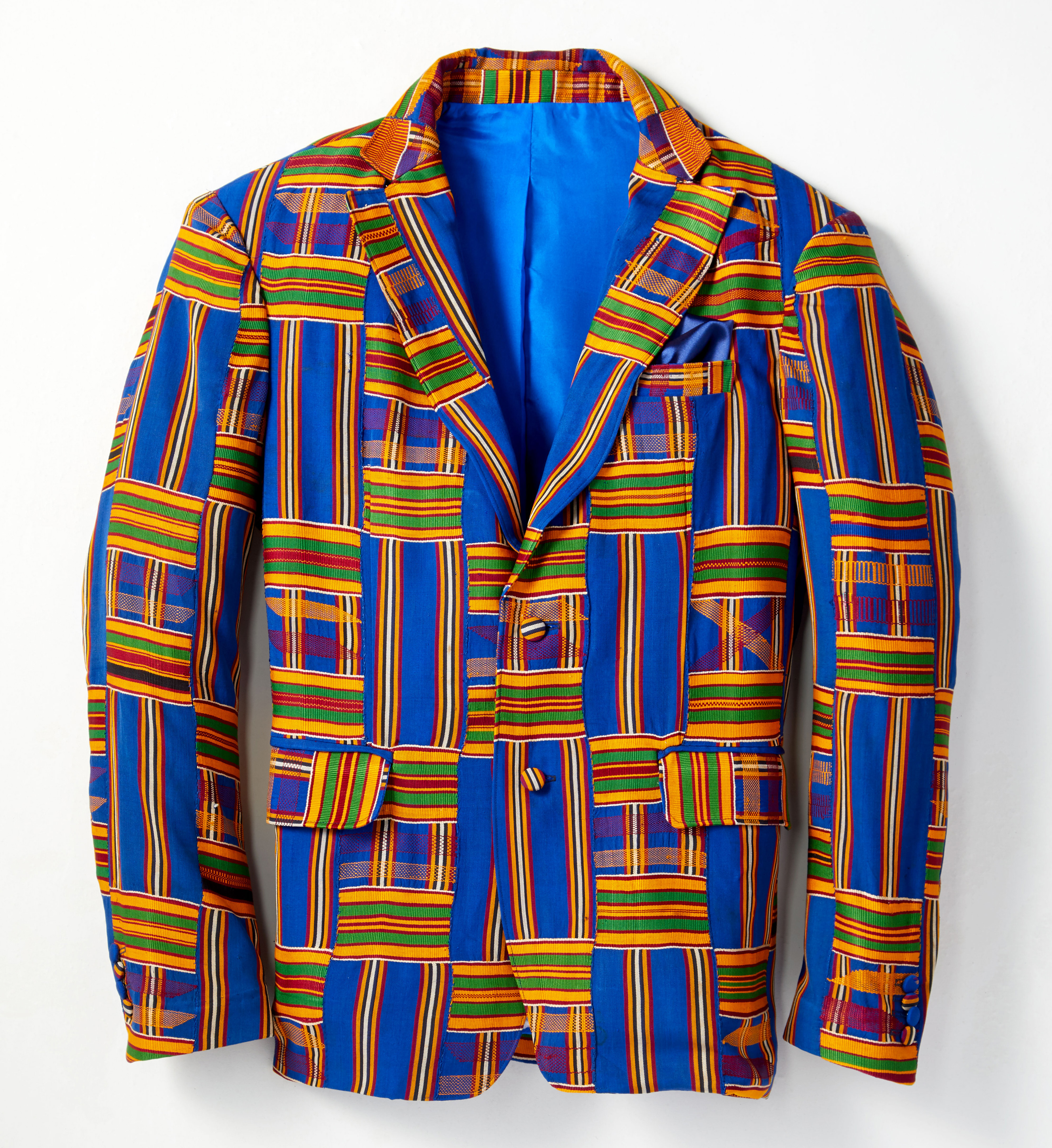 Custom Sports Jacket made of Kente Cloth. Photo by Adam Brown